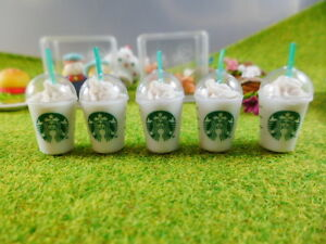 Set of 5 Starbucks Coffee Dollhouse Miniatures Food, Deco, Cute