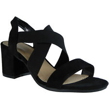09578135b0 Womens Ladies Elastic Strappy Mid Heel Faux Suede Party Sandals Shoes Size  UK 3 / EU