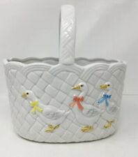 Otagiri 1983 White Ceramic Basket Nursery Style with Geese wearing Bows Duck