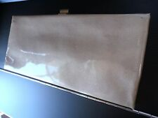 mod clutch vintage patent leather or pleather wide clutch fancy cocktail beige
