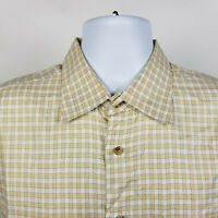 IKE Behar New York Beige Gingham Check Mens Dress Button Shirt Size Large L