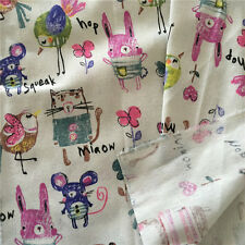 50x150cm Cotton Linen Zakka Fabric DIY Home Deco Print Crawl Graffiti Animal 9 F