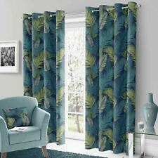 Teal Eyelet Curtains Green Tropical Palm Ready Made Lined Ring Top Curtain Pairs