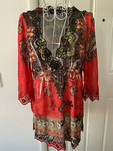Women THE PYRAMID COLLECTION Red Black Floral Print 3/4 Sleeve Top Size M