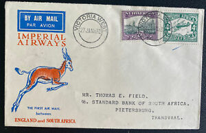 1932 Victoria South Africa First Domestic Flight Airmail Cover To  Pietersburg