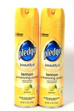 2 Pledge 9.7 Oz Beautify It Lemon Enhancing Shine & Protect Wood Polish Spray