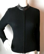 CLIO Black Ribbed Knit Leather cotton  blend  Zip Cardigan Sweater R4 work