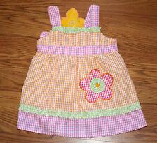 Baby Girl Pink Orange Green Gingham flower 2B Real  Spring Dress 2T