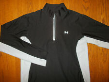 UNDER ARMOUR 1/4 ZIP LONG SLEEVE BLACK & GRAY ATHLETIC TOP WOMENS LARGE EXCELL.