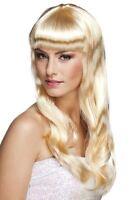 Long Blonde Wavy Wig With Fringe Fancy Dress Accessory Fashion Womens Ladies