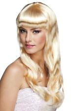 Womens Adults Blonde Long Wavy Wig + Fringe Fancy Dress Hairpiece