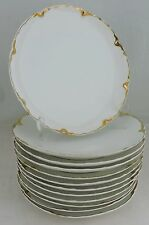 ANTIQUE LIMOGES WHITE GOLD DESSERT/SALAD PLATE SET 5 HAVILAND SCALLOPED