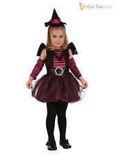 Girls Pink Black Witch Outfit Toddler 90-104cm Halloween Fancy Dress Costume