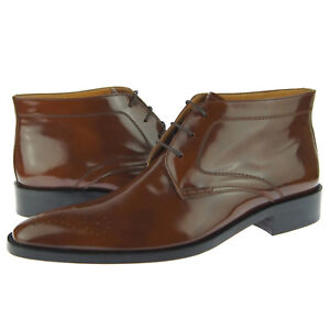 "Alex D ""Durham"" Men's Dress Patent Leather Lace-up Ankle Boots, Brown"