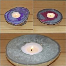 Natural Agate Candle Holder Crystal Votive Cluster Tealight Spiritual Home Decor