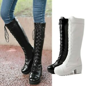 knee length Boots Victorian Lace Up Block Heel Womens Faux Leather Size 10