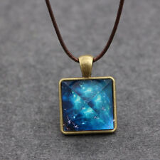 Starry Sky Noctilucent Pyramid Geometric Pendant Necklace for Men's Jewelry Glow