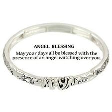 STRETCH BRACELET-ANGEL BLESSING  BRACELET - SILVER STRETCH BRACELET -