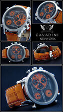 Luxury Time Triple Cavadini Chronograph Watch Series New York in orrang NEW