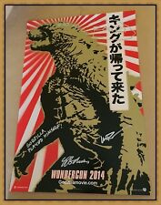 WONDERCON GODZILLA Signed PROMO POSTER DIRECTOR Gareth Edwards Rising Sun Flag