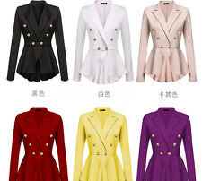 8 Colors Womens Ladies Frill Shift Stretch Peplum Blazer Jacket Solid Coat Tops
