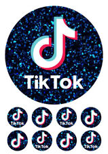 "TIK TOK cake decoration 7.5"" ICING WAFER edible cake topper + 8 cupcakes"