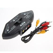 New listing 3-Way Audio Video Av Rca Black Switch Selector Box Splitter with/3Rca Cable $S1