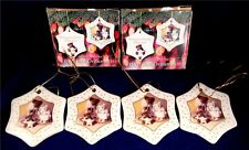 Boyds Bear Holiday Bears Porcelain Ornaments 2003 New In Box Set Of 4 Free Ship