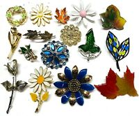 Lot of 16 Brooches Pin Rhinestone Enamel etc Leaf Flowers Jewelry Estate #PI4