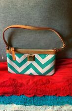 Dooney & Bourke Teal & White Coated Canvas Leather Trim Zip Wallet Wristlet