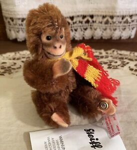 MINT Limited Edition Steiff Jointed Jocko Monkey Toy, with Scarf & Tags, Germany
