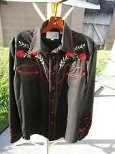 Vintage Roper men's shirt black with embroidered red roses.