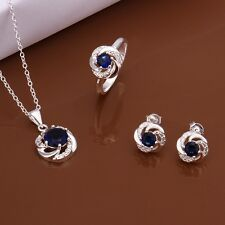 SWIRL STERLING SILVER 925 JEWELRY SET WITH BLUE SAPPHIRE & CUBIC ZIRCONIA