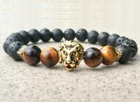 8mm Tigereye Volcanic rocks Golden Lion Bracelet mala men Gemstone pray Buddhism
