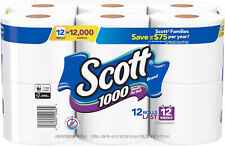 Scott Toilet Paper 12 Rolls 1000 Sheets / Roll Septic Tank Rv Safe Boat Ply New