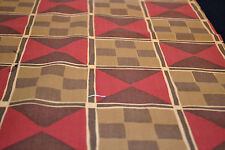 Japanese Woollen Fabric Red Brown Yellow Geometric Design 1014