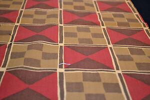 Japanese Woollen Fabric Red Brown Yellow Geometric Design 1014
