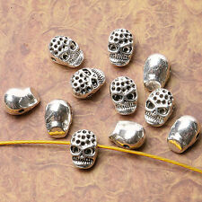 Tibetan silver plated skull charm beads  10pcs  EF3538