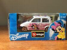 New Burago Disney Collection Minnie Mouse Fiat 500 1/43 White Diecast Bburago