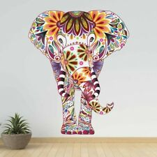 Flower Pattern Animal Elephant Wall Sticker Removable PVC Retro Decals Ethnic