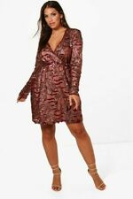 9576507c794 Boohoo Plus Lydia Two Tone Wrap Sequin Dress Size 22 Wine