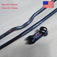 25.4/31.8mm MTB Handlebar Aluminum Flat/Riser Bar Bike Stem Carbon 6/17° Bar Set