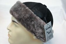 Black & Brown 100% Sheepskin Shearling Leather Fur Beanie Round Bucket Hat S-3XL