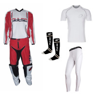 PULSE RED SYNERGY MOTOCROSS MX ENDURO QUAD BMX MTB KIT + BASE LAYERS & SOCKS