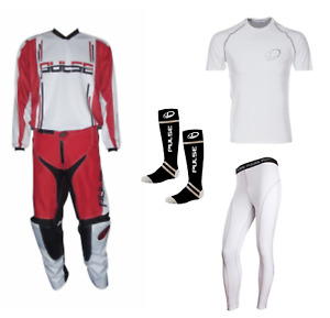 PULSE RED SYNERGY MOTOCROSS MX ENDURO QUAD BMX MTB KIT + BASE LAYERS & SOCKS