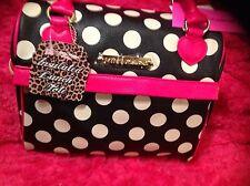 Betsey Johnson  Black Dot Lunch Box Insulated Tote Bone Speedy Hot Pink Hearts