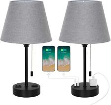 Set of 2 Modern Table Desk Lamp with Dual USB Ports AC...
