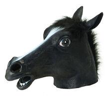 Cheval Noir Masque Tête Complète Adultes Déguisement Caoutchouc Beauté Animal F