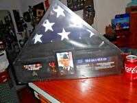 Military Shadow Box Flag Menorial Display Case Metals Pictures etc Large