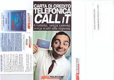BUSTA TELECOM CARTA DI CREDITO TELEFONICA CALL IT ASSOCIATO FEDERLAZIO